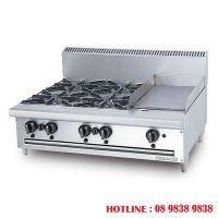 Stainless steel combination open burner griddle OB4GG1B
